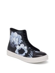 Alexander Mcqueen Floral Printed High Top Calf Leather Sneakers Black Multi