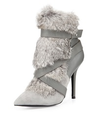 Charles Jourdan Knife Rabbit Fur Bootie Gray