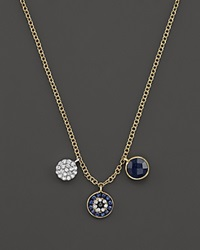 Meira T 14K Yellow Gold Blue Sapphire Evil Eye Charm Necklace 16 Blue Gold