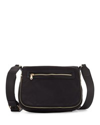 Neiman Marcus Charlie Nylon Messenger Crossbody Bag Black