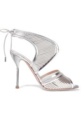 Nicholas Kirkwood Mirrored Leather And Mesh Sandals Silver