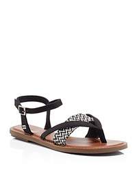 Toms Lexie Woven Strappy Flat Sandals Black White