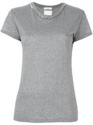 Valentino 'Rockstud' Collar T Shirt Grey