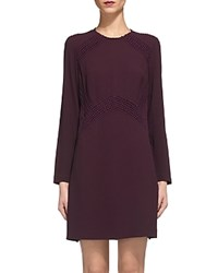 Whistles Amy Lace Inset Dress Burgundy