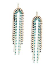 Trina Turk Faceted Crystal Linear Drop Earrings Gold