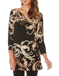 Rafaella Printed Split V Neck Tunic Black
