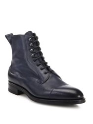 Edward Green Leather Cap Toe Ankle Boots Navy