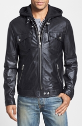 7 Diamonds 'Los Angeles' Trim Fit Leather Moto Jacket With Inset Hood Online Only Black