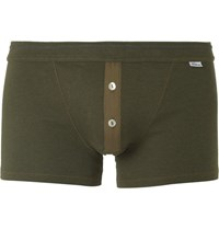 Schiesser Karl Heinz Cotton Jersey Boxer Shorts Army Green