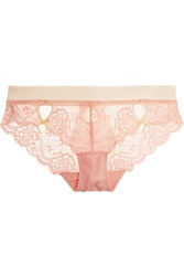 Heidi Klum Intimates Zoe Low Rise Satin And Lace Briefs Pink