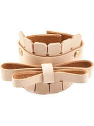 Niels Peeraer Bow Detail Leather Cuff Nude And Neutrals