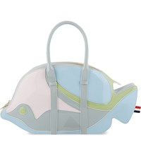 Thom Browne Trigger Reef Fish Patent Leather Tote Light Blue Mix