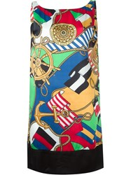 Love Moschino V Back Printed Dress Multicolour