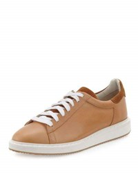 Brunello Cucinelli Men's Icarus Leather Sneaker Beige