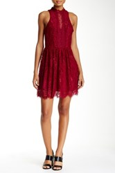 Trixxi Mock Neck Eyelash Dress Red