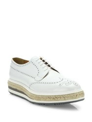 Prada Leather Wingtip Creepers White