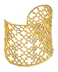 Alexis Bittar Elements Crystal Studded Spur Lace Cuff Gold Rhodium