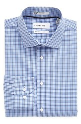Calibrate Men's Big And Tall Trim Fit Non Iron Check Dress Shirt Blue Yonder