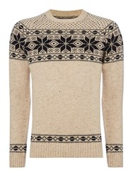 Criminal Max Snowflake Crew Neck Christmas Jumper Oatmeal