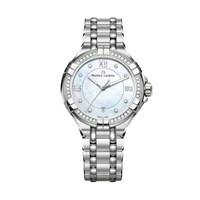 Maurice Lacroix Ai1006 Sd502 170 1 Women's Aikon Diamond Date Bracelet Strap Watch Silver Mother Of Pearl Blue