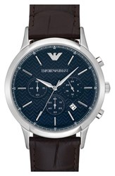 Men's Emporio Armani 'Dress Chrono' Leather Strap Watch 43Mm Dark Brown Navy