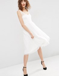 Asos Dobby Mesh Wrap Midi Prom Dress Ivory White