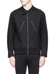 Ann Demeulemeester Cotton Jersey Biker Jacket Black