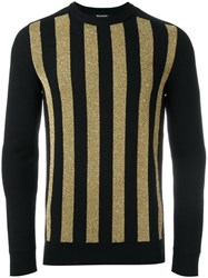 Balmain Glitter Detail Striped Pullover Black