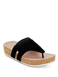 Taryn Rose Adelle Metallic Leather And Cork Thong Slide Sandals Black