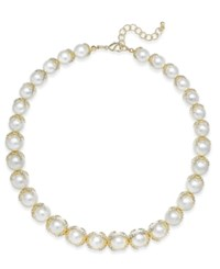 Charter Club Imitation Pearl And Crystal Collar Necklace Only At Macy's Gold