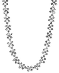 Anne Klein Silver Tone Glass Crystal Collar Necklace