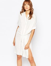 Vila Collarless Shirt Dress With Waist White