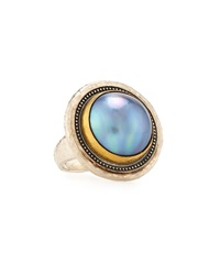 Gurhan Mixed Metal And Gray Mabe Pearl Ring Size 6.5