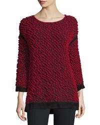 Cnc Costume National 3 4 Sleeve Textured Sweater Red Black Women's