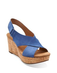 Clarks Caslynn Shae Leather Open Toe Wedge Sandals Blue