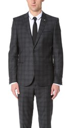 The Kooples Check Suit Jacket Grey