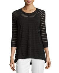 Joan Vass Republic Sheer Stripe Raglan Tunic Black