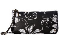 Elliott Lucca Artisan 3 Way Demi Clutch Black White Wildflower Clutch Handbags