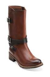 Clarksr Women's Clarks 'Volara Melody' Moto Boot Rust Leather