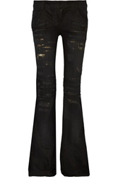 Balmain Distressed Low Rise Flared Jeans Black
