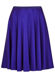 Paule Ka Cobalt Flared Satin Mini Skirt Blue