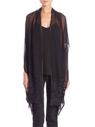 Harrison Morgan Lace Trim Silk Shawl Black Rose