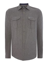 Duck And Cover Royde Long Sleeve Shirt Mid Grey Marl