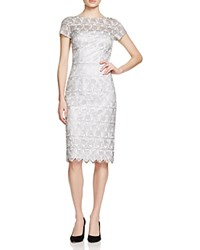 David Meister Short Sleeve Lace Cocktail Dress Silver