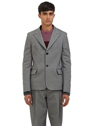 Acne Studios Julien Single Breasted Chevron Blazer Jacket Grey