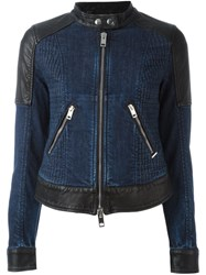 Diesel Panelled Denim Jacket Blue