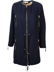 Vanessa Bruno Rabbit Fur Lining Zip Coat Blue