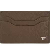 Tom Ford Logo Grained Leather Card Holder Military