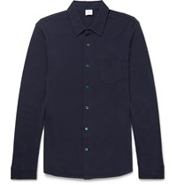 Sunspel Slim Fit Cotton Pique Shirt Blue