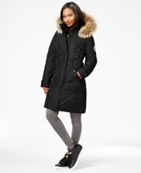 Madden Girl Madden Girl Faux Fur Trim Long Parka Black